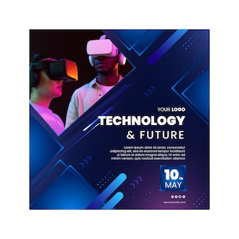 Tecnologia e futuro volantino quadrato