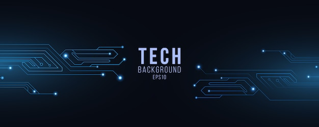 Technology futuristic background of glowing blue computer circuit.
