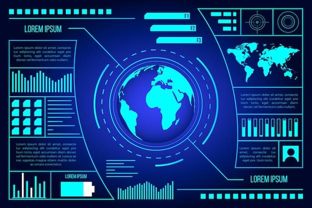 Technology futuristic blue design with earth