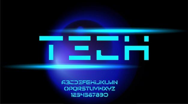 技術の未来的なサイファイアルファベットフォント。デジタル空間タイポグラフィ