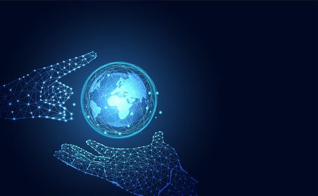 技術の未来的な世界とハンドワイヤフレームブルーデジタル