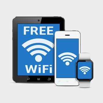 Технологические гаджеты с символом wi-fi интернет на экране