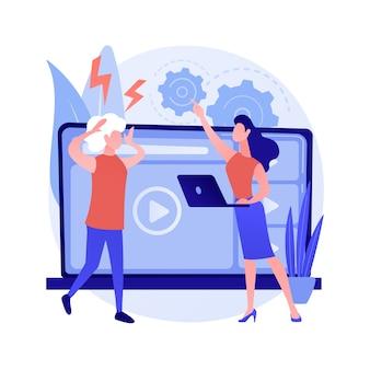 Illustrazione di vettore di concetto astratto di gap tecnologico. divario digitale, divario delle app, uso della tecnologia, dispositivo mobile, comprensione, paese in via di sviluppo, sfasamento temporale, metafora astratta dell'alfabetizzazione digitale.