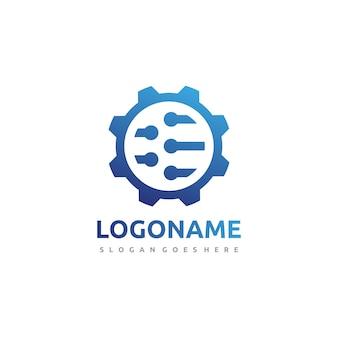 Technology gear logo template Premium Vector
