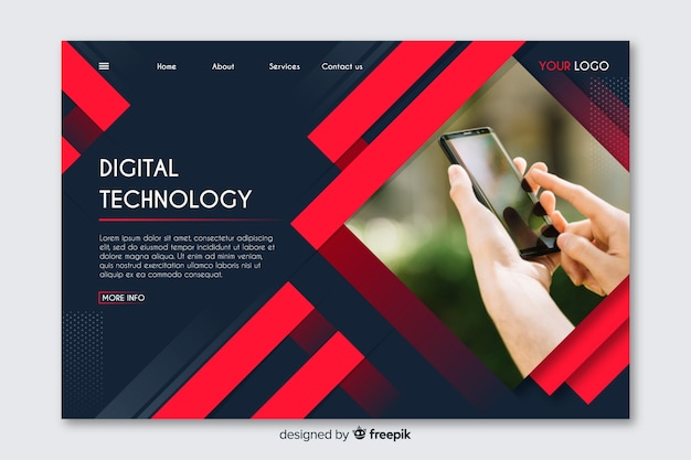 Technology geometric landing page with photo