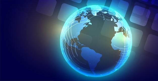 기술 글로벌 빛나는 지구 배경 디자인