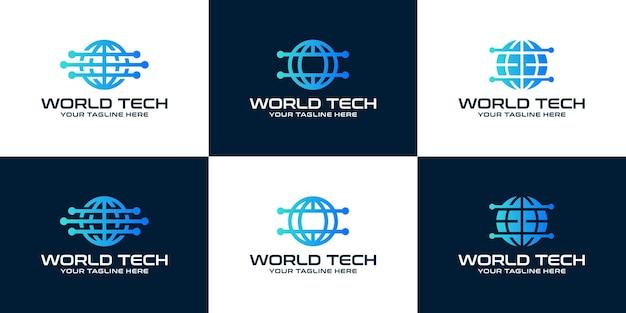 Technology globe logo design inspiration collection data design template