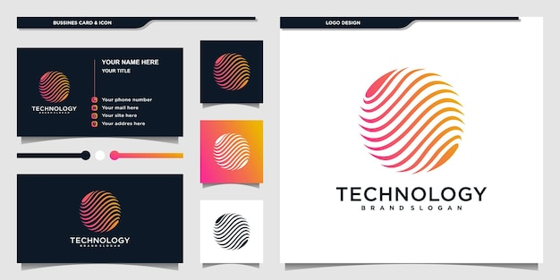 Technology globe logo designs inspiration with modern planet shape logo and business card design premium vector