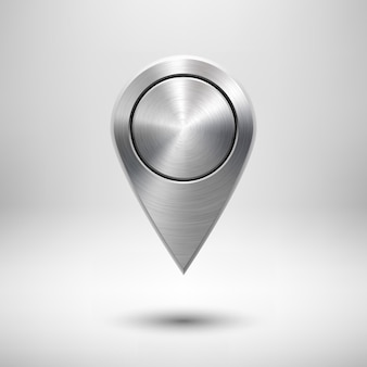 Technology gps map pointer badge template with metal texture chrome silver and realistic shadow