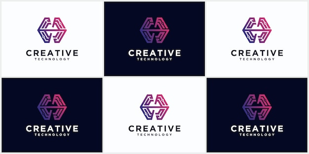 Technology h logo set negative space initial monogram creative and minimalist letters, h logo editable icon design in format