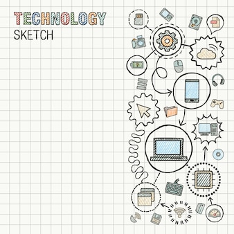 技術の手描きは、紙に設定されたアイコンを統合します。カラフルなスケッチインフォグラフィックイラスト。接続された落書きピクトグラム。インターネット、デジタル、市場、メディア、コンピューター、ネットワークのインタラクティブなコンセプト