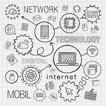 기술 손 통합 아이콘 세트를 그립니다. 인포 그래픽 일러스트 스케치. 종이에 선 연결 낙서 해치 그림. 컴퓨터, 디지털, 네트워크, 비즈니스, 인터넷, 미디어, 모바일 개념