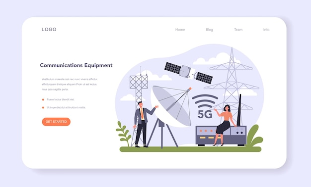 Technology hardware and equipment industry web banner or landing page