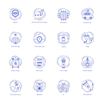 Technology and hardware line icons pack