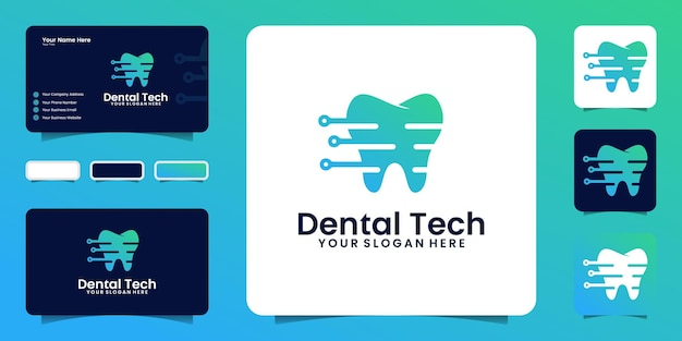 Вдохновение для дизайна логотипа technology health dental с линиями и точкой с визитной карточкой