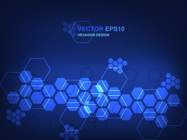 Technology hexagon concept background for digital technology, science, research and innovation medicine.