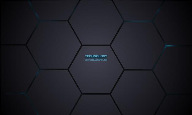 技術六角形の暗いベクトルの背景。灰色のハニカムテクスチャグリッド。