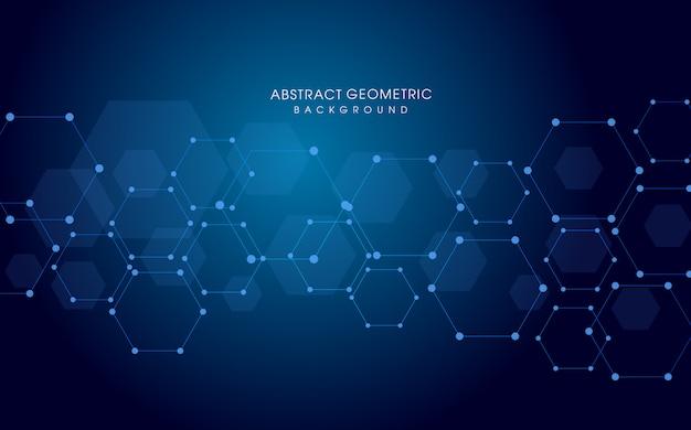 기술 6 각형 디지털 파란색 배경