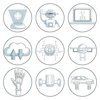 Технология иконок дизайн на белом фоне