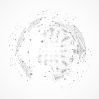세계의 기술 이미지입니다. 점과 곡선이 구를 구성