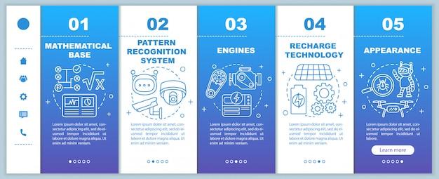 로봇 웹 온보드 모바일 웹 페이지 템플릿의 기술입니다. 오토메이션. 선형 삽화와 응답 스마트 폰 웹 사이트 인터페이스 아이디어. 웹 페이지 연습 단계 화면. 컬러 컨셉