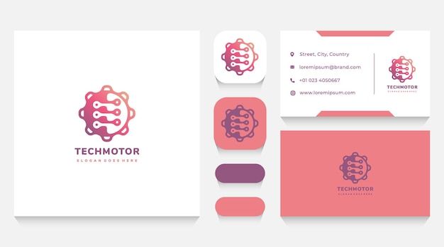 Technology and industry gear logo template and business card