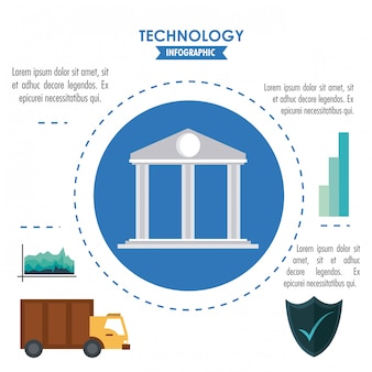 Technology infographic with statistics and elements