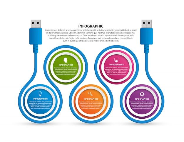 ビジネスのための技術インフォグラフィックテンプレート。 Premiumベクター