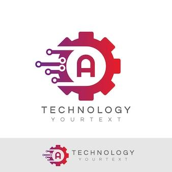 기술 초기 문자 a 로고 디자인