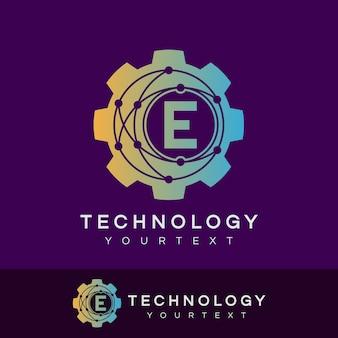 Technology initial letter e logo design