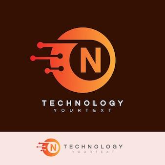 Technology initial letter n logo design