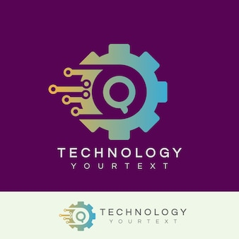 Technology initial letter q logo design