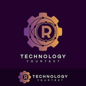 Technology initial letter r logo design