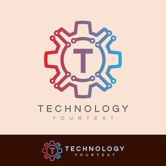 Технология начального письма t логотип дизайн