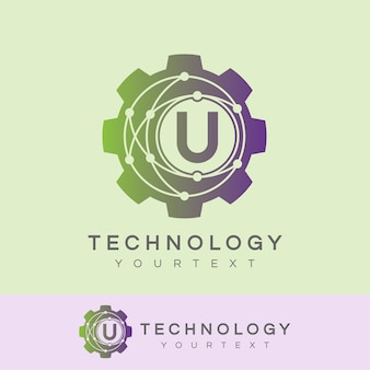 Technology initial letter u logo design