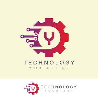 Technology initial letter y logo design