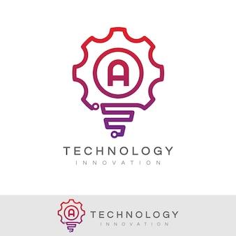 Technology innovation initial letter a logo design