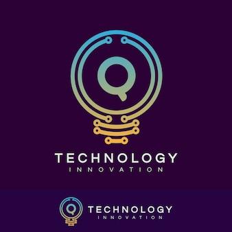技術革新初期のレターqロゴデザイン