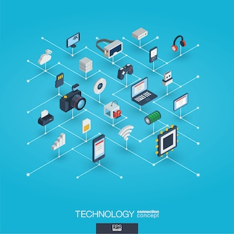 Technology integrated 3d web icons. digital network isometric concept.