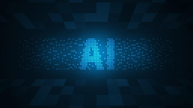 The technology of intelligent operating system ai on a dark blue background
