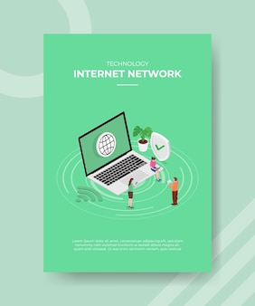 Technology internet network people standing sitting front laptop for template flyer
