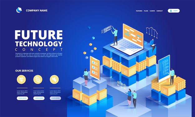 Technology isometric concept. abstract future high tech  illustration