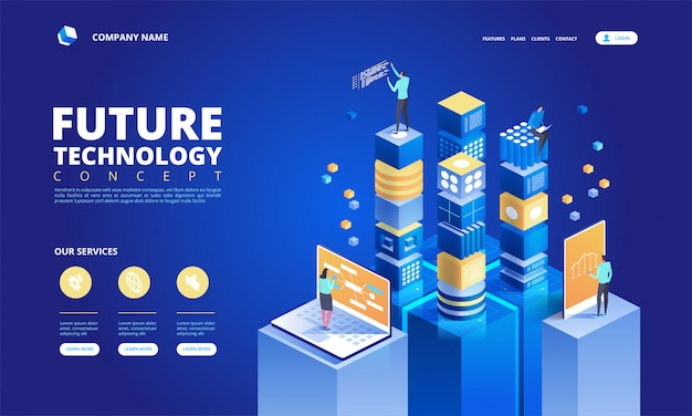 Technology isometric concept. abstract high tech future