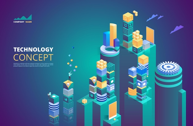 Technology isometric concept. cryptocurrency and blockchain. abstract future high tech