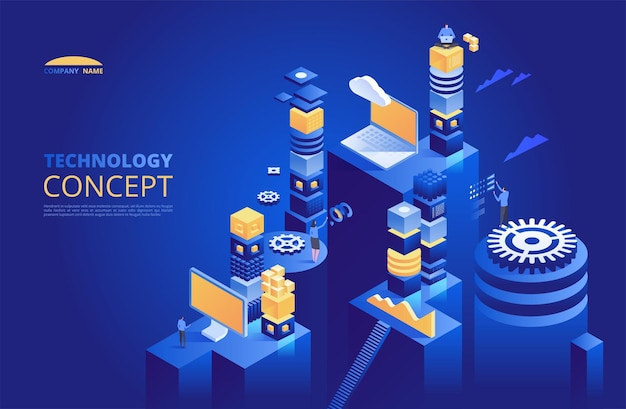 Technology isometric concept. cryptocurrency and blockchain.