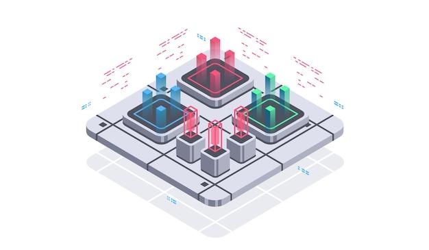 양자 컴퓨터 인공 지능을위한 기술 아이소 메트릭 인포 그래픽 디자인