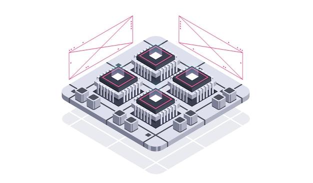 量子コンピューター人工知能のための技術等尺性インフォグラフィックデザイン