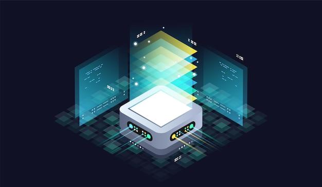 양자 컴퓨터를위한 기술 아이소 메트릭 인포 그래픽 디자인