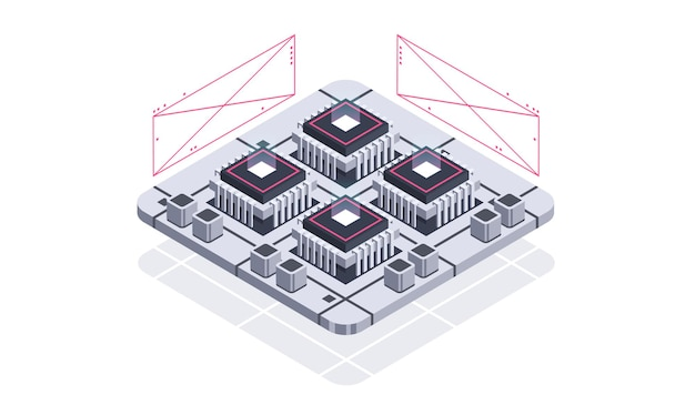 Technology isometric infographic design for quantum computer artificial intelligence
