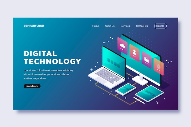 Technology isometric landing page template